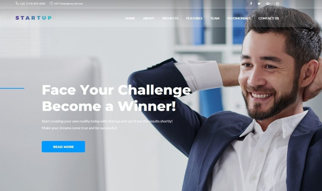 Startup Company One Page WordPress Theme