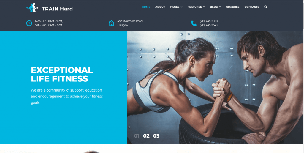 Train Hard Fitness WordPress Theme