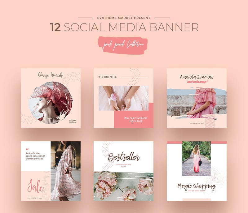 Pink Peach Social Media Designs Social Media