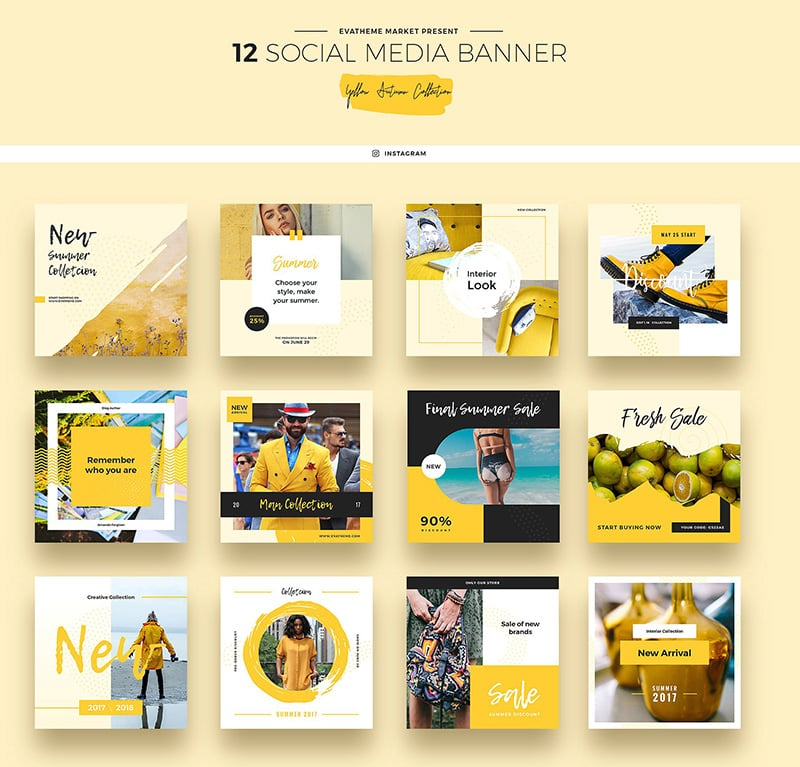 Yellow Autumn Banners Collection Social Media