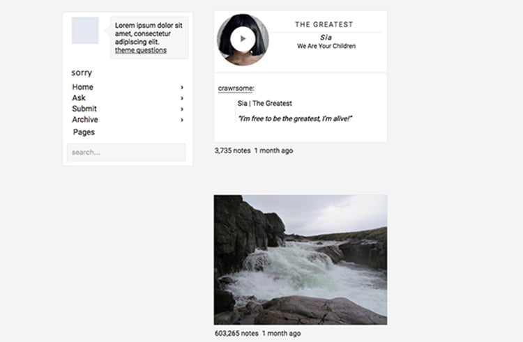 Foudre Is Pretty Simple Tumblr Theme With An Experimental Layout And Basic Design This A Good Choice For Entertainment Blogging