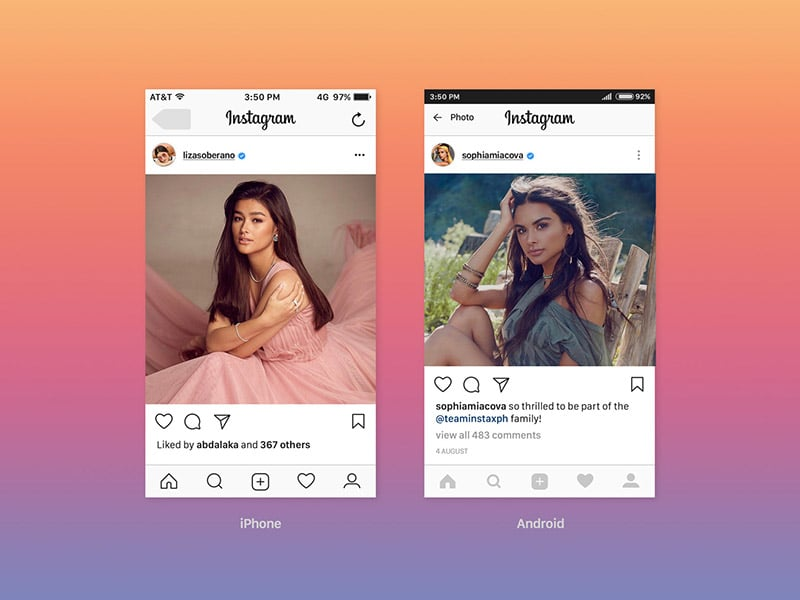 free instagram ui feed