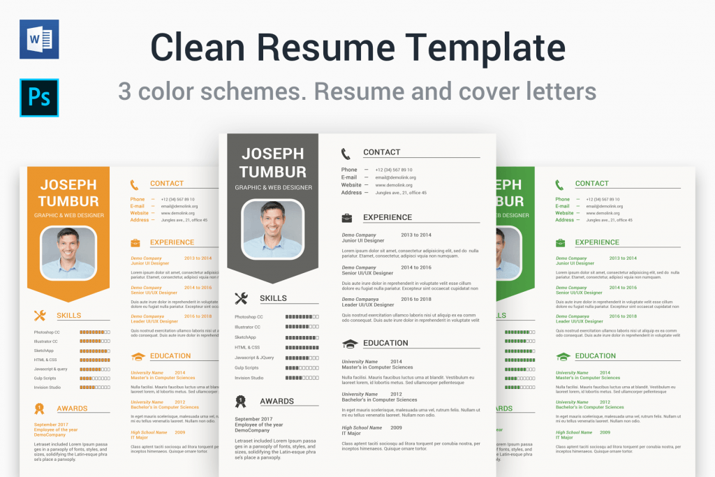 Clean Resume Template Includes 3 Color Schemes.