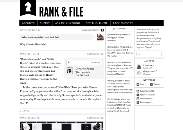 rank and file works fine for new blogging purposes and group blogging the theme has a great choice of customizable options here you can play with a header