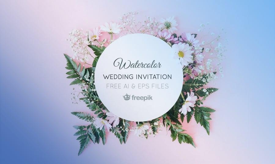 Watercolour Wedding Invitation Freebie
