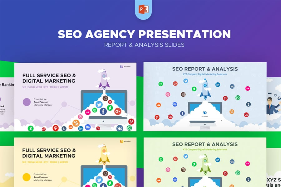the unique and functional seo agency report analysis powerpoint template help you to deliver high quality design to your clients prospects or other