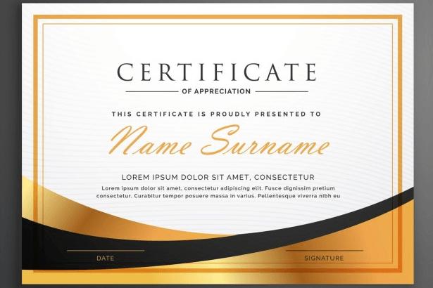 luxurious certificate
