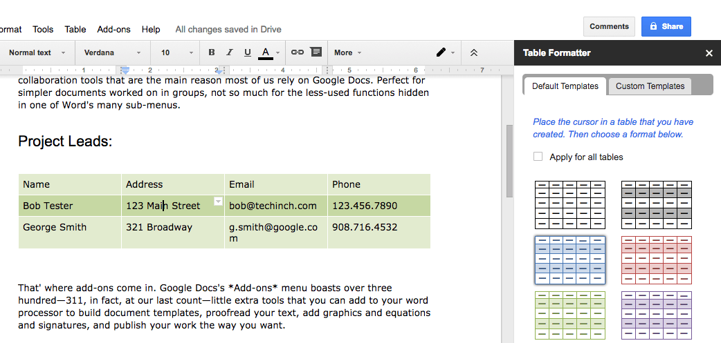 best addons for Google Docs