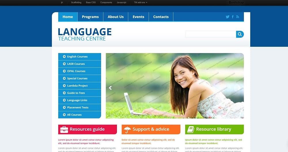 Language School Template Website Template
