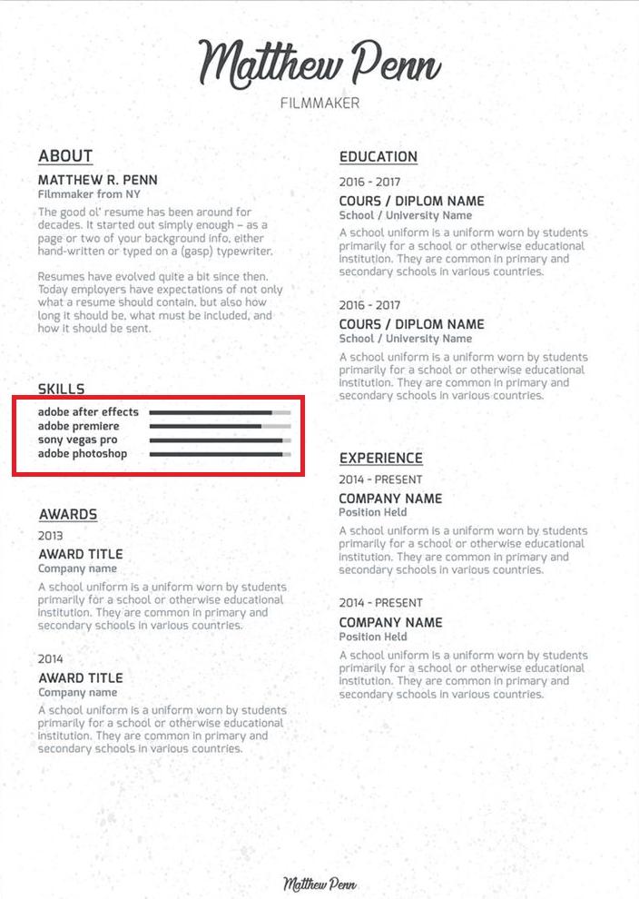 common resume skills