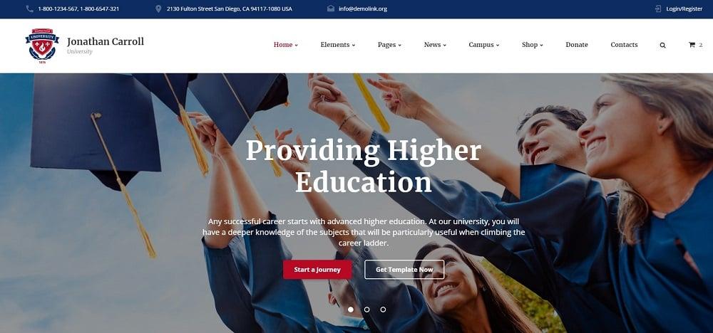 University Template Website Template
