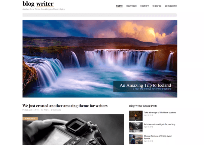 Blog Writer WordPress Theme