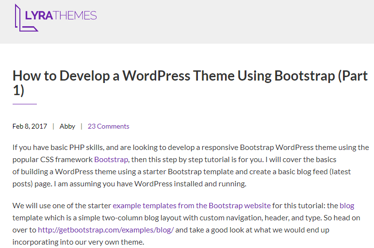 Develop a WordPress Theme