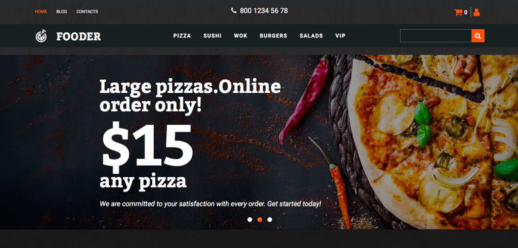 Fooder Pizza Restaurant MotoCMS Ecommerce Template