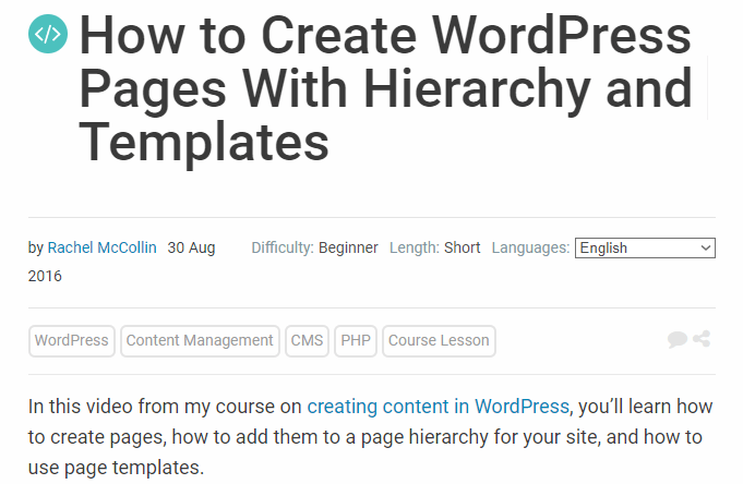 WordPress Pages With Hierarchy and Templates