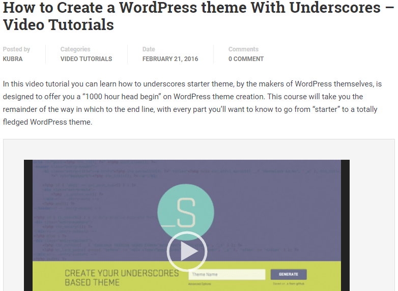 WordPress theme With Underscores