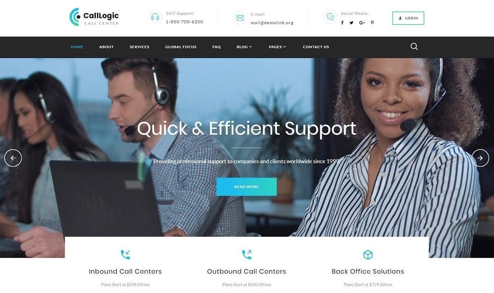 CallLogic - Call Center Multipage HTML5 Website Template