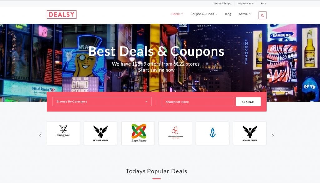 Dealsy - Deals & Coupons Theme + Admin Website Template