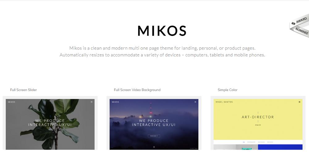 Mikos - Multi and One Page WordPress Theme