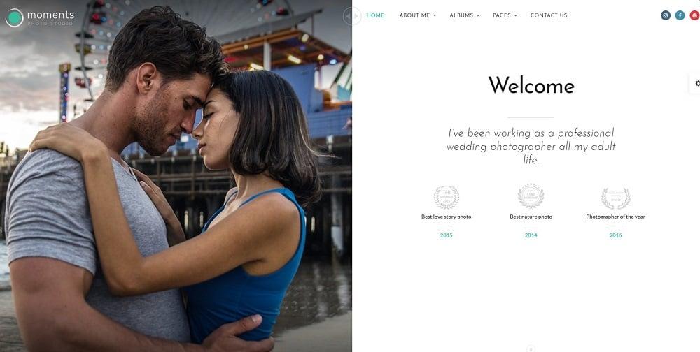Moments - Photographer Portfolio Multipurpose Website Template