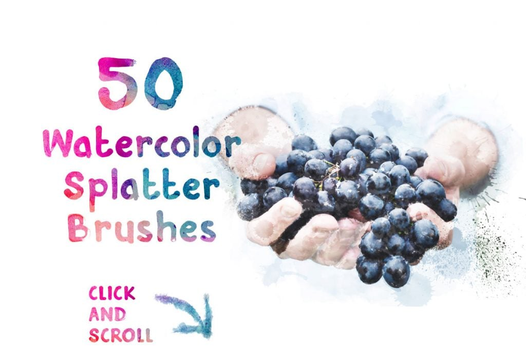 50 FREE Watercolor Splatter Brushes