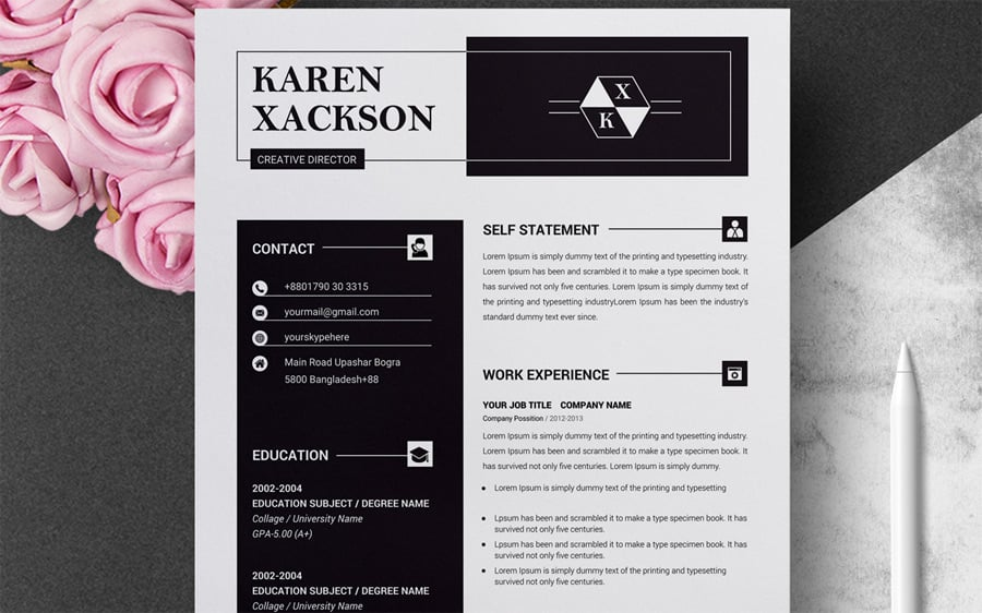 The Resume Template Is A Perfect Demonstration Of How Contemporary Twist And Insightful Design Can Be Brought Together To Deliver Enough Space For All