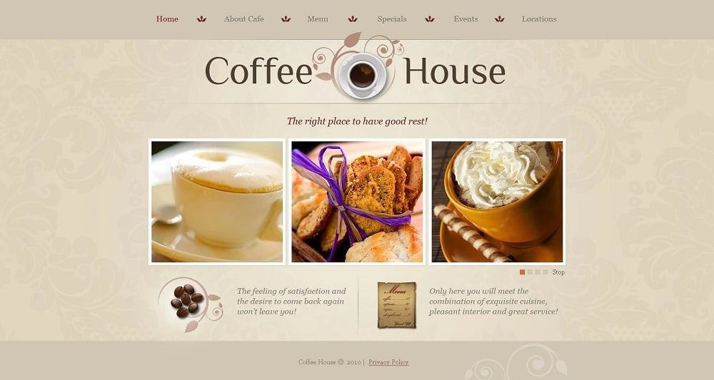 Coffee Shop PSD Template
