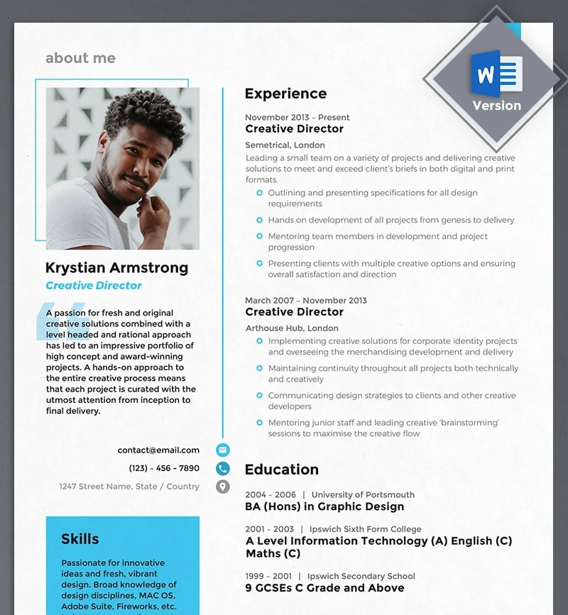 Creative Director Resume Template Is An A4 Size Example Will Give You A Bunch Of Options To Display Your Skills And Experience In The Most Attractive