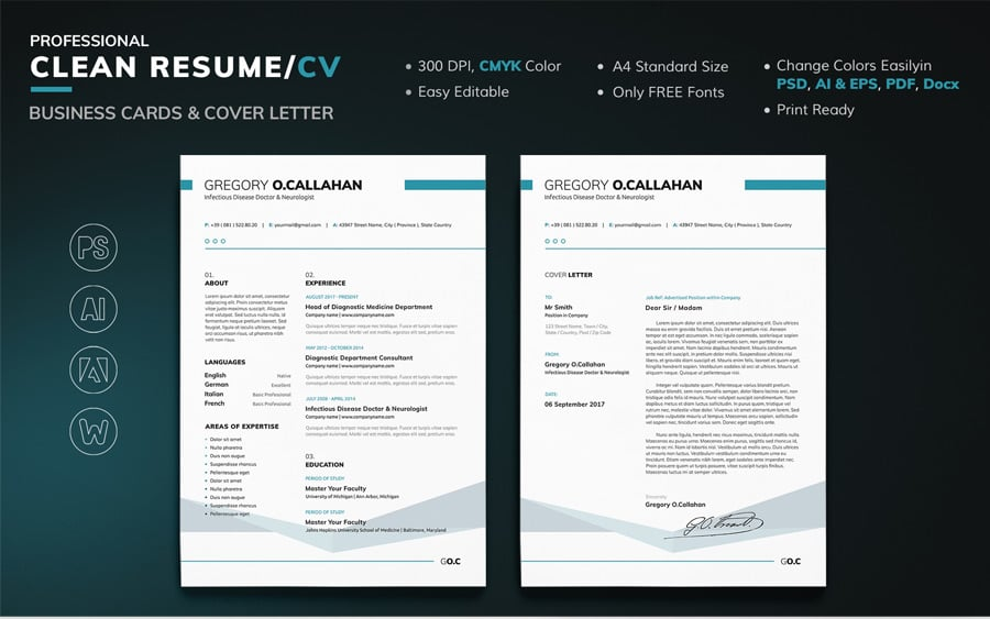 40 Best 2019\'s Creative Resume/CV Templates | Printable DOC