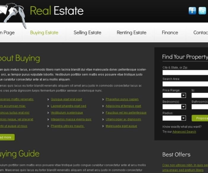 Free Real Estate Business Template Website Template