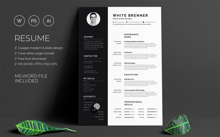 40 Best 2019\'s Creative Resume/CV Templates | Printable DOC