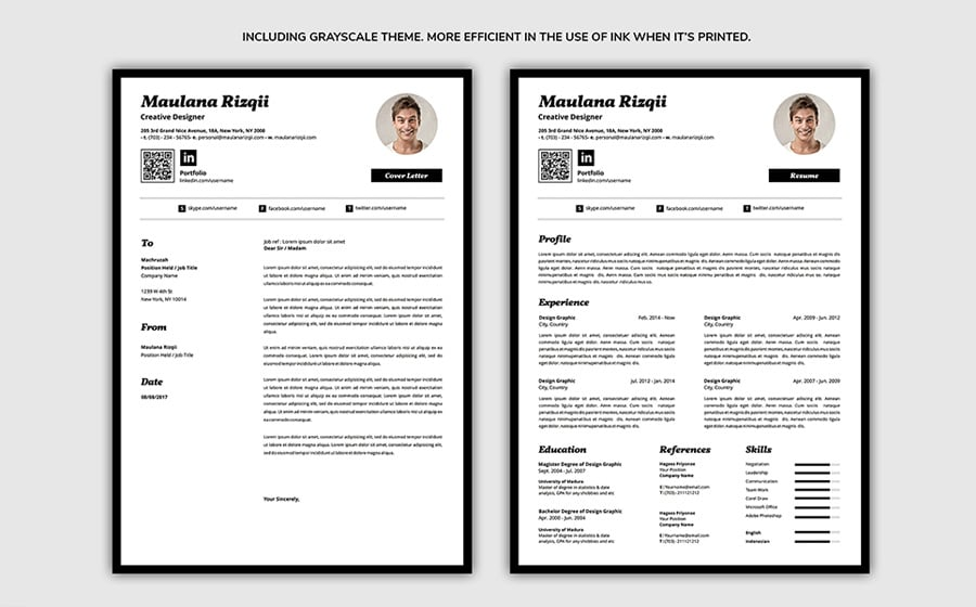The Resume Template Is Delivered In A4 Size With Bleed It Print Ready You Can Apply All Sorts Of Changes Adobe Illustrator And Microsoft Word