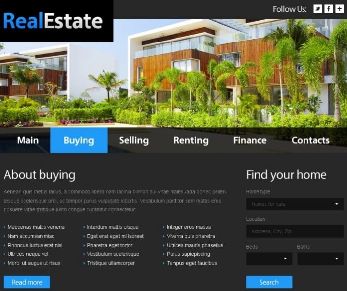 Free Website Template - Real Estate Website Template