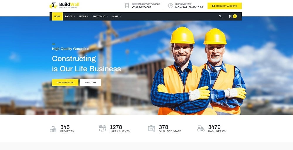 BuildWall - Construction Company Multipurpose Elementor WordPress Theme
