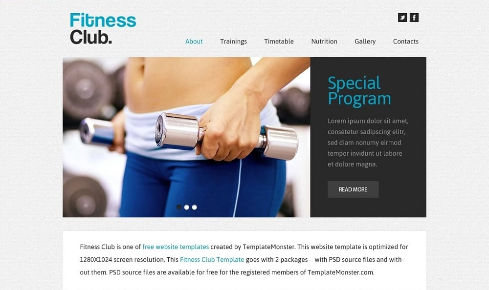 Free Website Template - Fitness Club