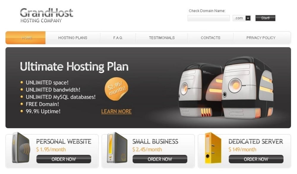 Free Hosting Website Theme