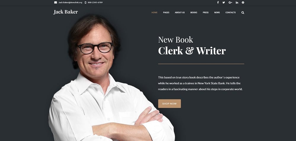 Jack Baker - Writer Responsive WordPress Theme