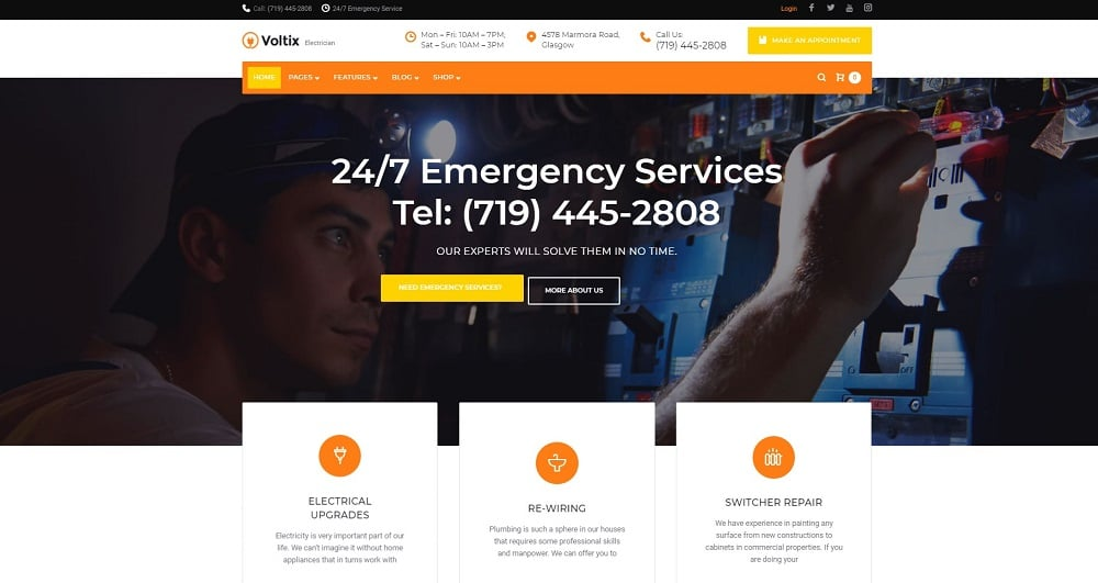 Voltix - Electrical Services WordPress Theme