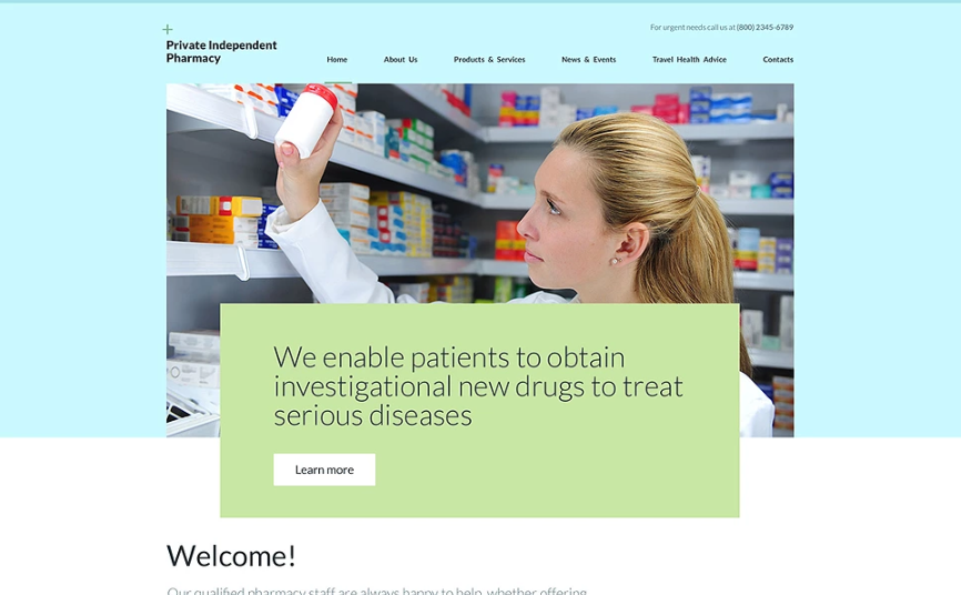 Private Independent Pharmacy Website Template