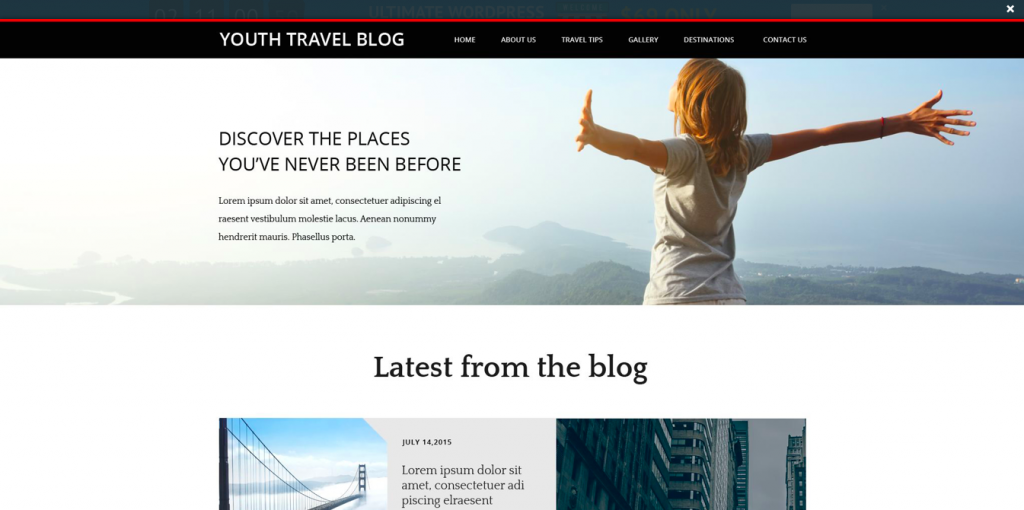 Youth Travel Blog Website Template