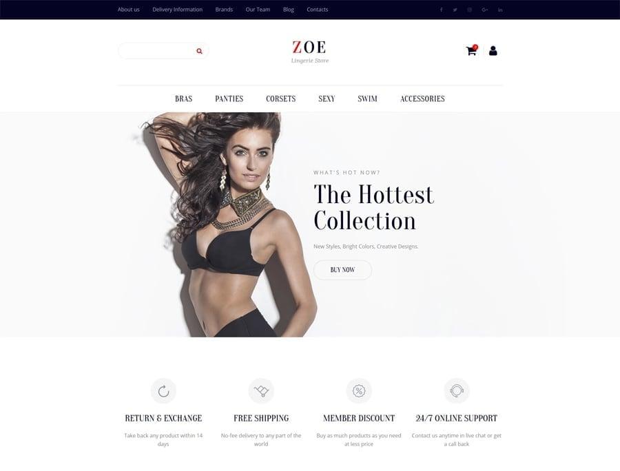 Zoe Fashion Responsive MotoCMS Ecommerce Template