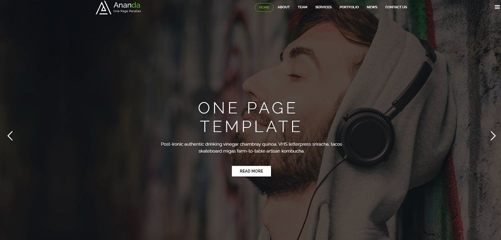 Ananda - One Page Parallax Website Template