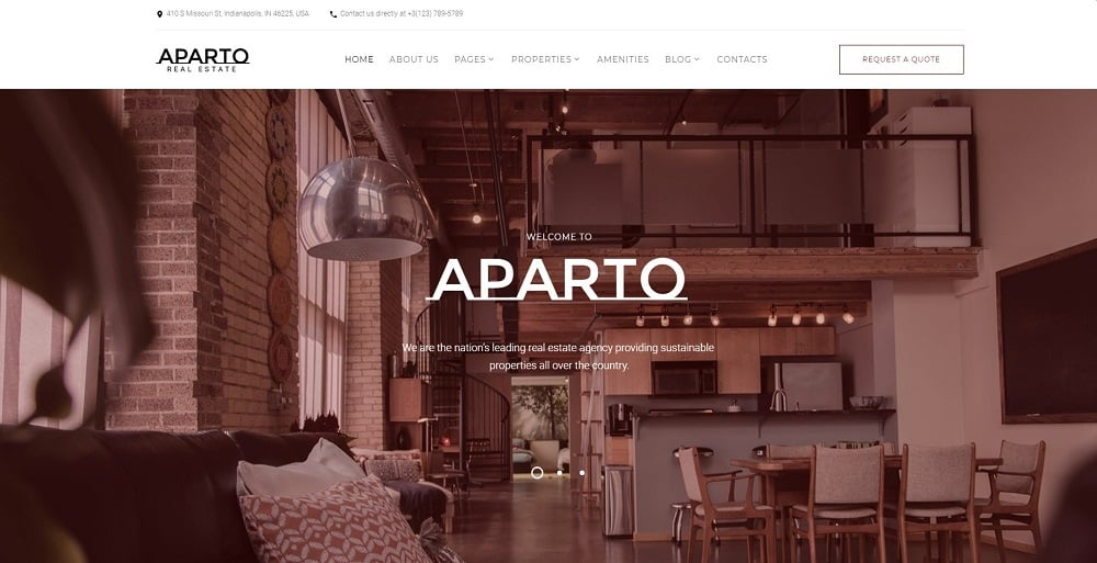 Aparto - Real Estate Responsive Multipage HTML Website Template