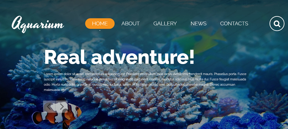 Aquarium Website Template