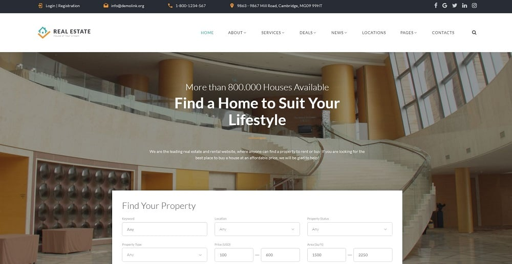 Real Estate - Efficient Housing & Accommodation Multipage HTML Website Template