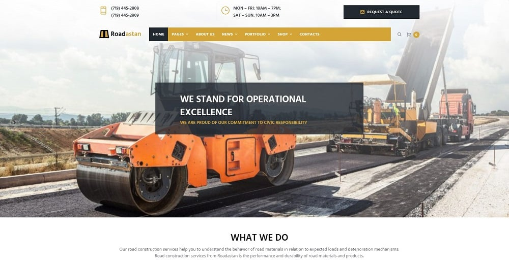 Roadastan - Road Construction Elementor WordPress Theme