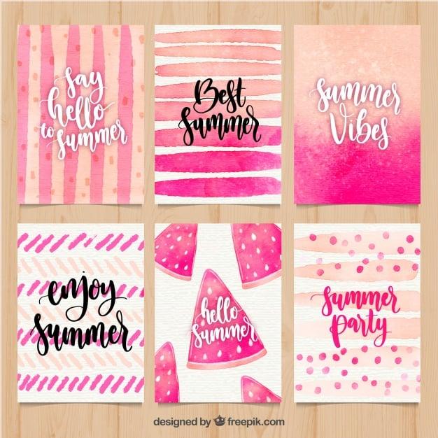 set of summer cards