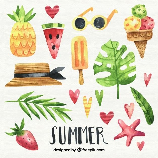 set of summer watercolor