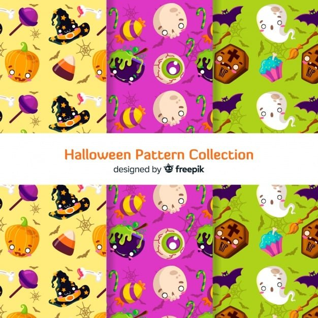 Colorful halloween pattern collection with flat design