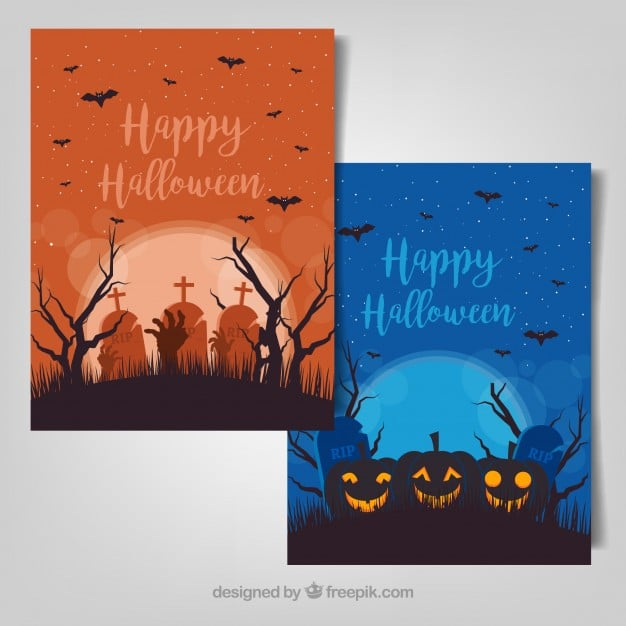 Creepy halloween illustrations vector set
